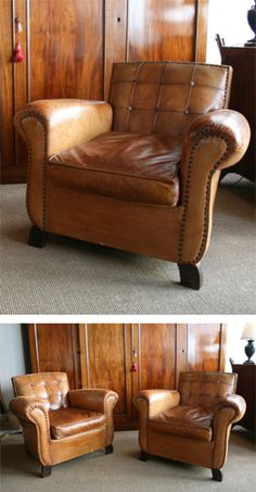 Pair of leather club chairs with panelled backs. Good colour and condition.