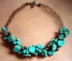 Green Turquoise Wire Crochet Necklace
