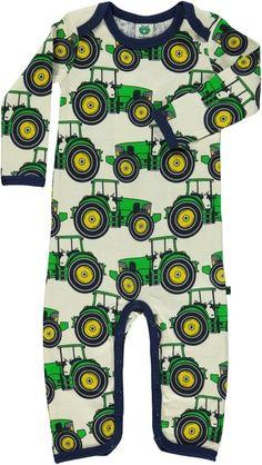 Wollen bodysuit (Smafolk) - Groene tractors