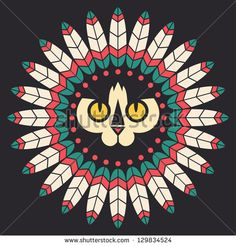 Cat's head with indian feathers - stock vector