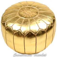 Moroccan Embroidered Pouf / Ottoman - http://www.furniturendecor.com/moroccan-embroidered-pouf-ottoman-gold-stuffed/- Related categories: Furniture, Home and Kitchen, Living Room Furniture, Ottomans