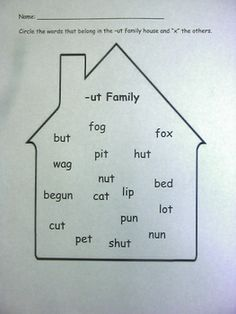 This is an activty that I use in kindergarten for centers when we are studying word families.  I have houses for the following word families:  -un,...