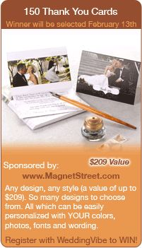 Wedding Contests - Win this wedding thank you card giveaway.