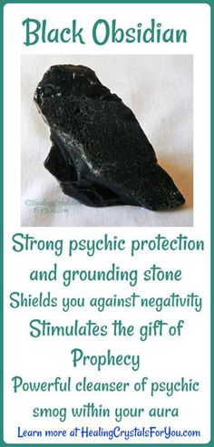 Crystal Properties and Meanings Black Obsidian: #BlackObsidian is a strong #psychicprotection and #groundingstone. It stimulate the gift of #prophecy and shields you against negativity. A powerful cleanser of #psychicsmog created within your aura.
