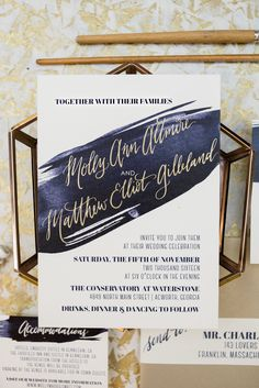 navy brush stroke and gold foil wedding invitation, modern wedding design, Wouldn't it be Lovely