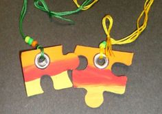 Puzzle Piece Friendship Necklace. Could be done w/a holw punch if the puzzle is thin enough. Would be even cooler if printed photo of your friend or pretty image and glued to puzzle pieces