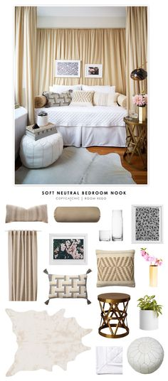 A soft neutral bedroom nook featured on One Kings Lane and recreated by Copy Cat Chic for less. by @audreycdyer