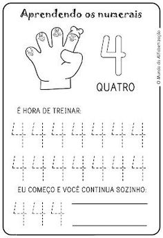 Exercises to Count on the Fingers – Drawings For C …- Exercícios para Contar … Preschool Writing, Numbers Preschool, Preschool Learning Activities, Toddler Learning, Pre K Worksheets, Kindergarten Math Worksheets, In Kindergarten, Fun Math, Kids Education