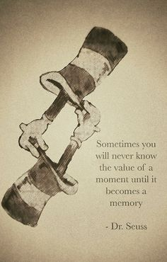Sometimes you will never know the value of a moment until it becomes a memory - Dr. Seuss