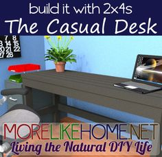 Build a casual desk out of 2x4s with MoreLikeHome.net. Plus Lowes / Home Depot gift cards giveaway!