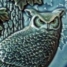 Night Shift framed, 7 x 11 inches, wall art, close up detail of sculpted ceramic tile by MedicineBluffStudio. Frames On Wall, Framed Wall Art, Wall Art Decor, Craftsman Decor, Art Nouveau Tiles, Great Horned Owl, Rabbit Art, Handmade Tiles, Night Shift