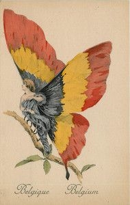 World War I Patriotic Allies Belgium Butterfly Woman Vintage Postcard