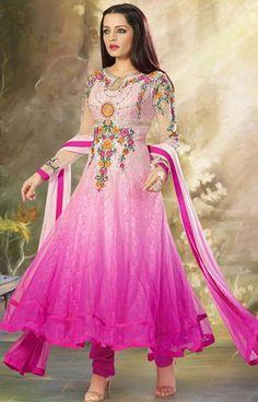 USD 81.42 Celina Jaitly Pink Bollywood Salwar Kameez 43170