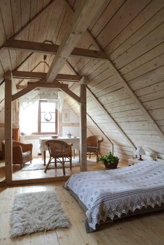 A Frame Cabin, A Frame House, Attic Bedrooms, Bedroom Loft, Bed Rooms, Attic Spaces, Tiny Spaces, Deco Design, Design Case