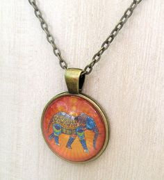 Elephant Picture Pendant Necklace, Elephant Print Dome Tile Necklace with Bronze Chain, Colorful Orange Yellow Blue Necklace / Custom Length