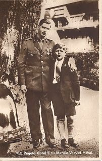 King Carol II of Romania with his undisputedly legitimate son and heir, Prince Michael. Michael is wearing the short pants that Carol is said to have insisted he wear. When Princess Helen allowed Michael to wear long pants on a visit with her Carol is said to have been furious.