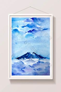 volcano blue summer material hand painted background landscape fresh watercolor #pikbest #watercolor #landscape #illustration #psd #freebie #graphicdesign #graphicelements #freedownload #homedecor #walldecor #printable #freeprintable Landscape Illustration, Pattern Illustration, Watercolor Illustration, Watercolor Design, Watercolor Landscape, Paint Background, Volcano, Watercolors, Free Design