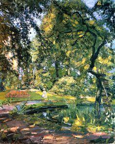 "fleurdulys: ""  Garden in Godrammstein with Overgrown Trees and Pond - Max Slevogt 1910 """
