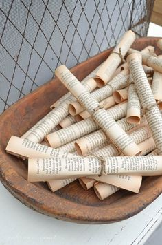 Easy DIY Decorating Idea....Use Vintage Paper Rolls made from old book pages to Fill a Dough Bowl {www.andersonandgrant.com}