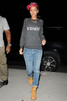 Rihanna on the street in New York - celebrity fashion