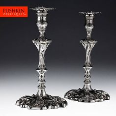ANTIQUE 19thC VICTORIAN SOLID SILVER PAIR OF LARGE CANDLESTICKS, SHEFFIELD c1892