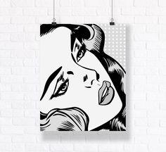 Blondy Black and White Theme Customizable Pop Art Comic