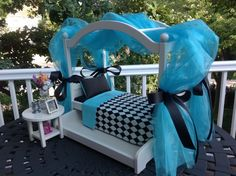your little doll will LOVE to sleep in this bed :-)) This listing is for the retro looking dynamite Natalie Canopy Bed, with black and American Girl Doll Bed, American Girl Furniture, American Girls, Ag Dolls, Girl Dolls, Girl Doll Clothes, Doll Crafts, Diy Doll, American Girl Accessories
