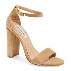 Women's Steve Madden 'Carrson' Sandal (1 280 ZAR) ❤ liked on Polyvore featuring shoes, sandals, heels, sand suede, ankle strap heel sandals, thick heel sandals, chunky heel shoes, ankle strap sandals and wide heel shoes