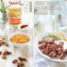 Sweet & Spicy Orange-Glazed Pecans from Smucker's ® Holiday Party Appetizers, Thanksgiving Appetizers, Party Snacks, Dinner Parties, Holiday Parties, Glazed Pecans, Homemade Food Gifts, Christmas Cooking, Christmas Recipes