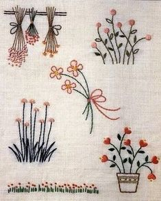 Hand Embroidery and Ribbon Embroidery: Hand embroidery patterns - Stickerei Ideen Hand Embroidery Flowers, Embroidery On Clothes, Flower Embroidery Designs, Hand Embroidery Stitches, Ribbon Embroidery, Embroidery Art, Cross Stitch Embroidery, Machine Embroidery, Contemporary Embroidery