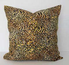 Cheetah, Leopard Print Decorative Pillow Cover, Black and Brown 16x16, Animal Print