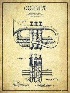 Cornet Poster featuring the drawing Cornet Patent Drawing From 1901 - Vintage by…