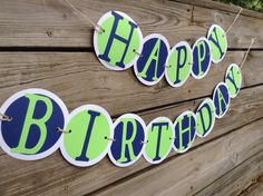 Happy birthday banner boy blue green by WeekendPlayDesigns on Etsy