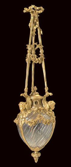 French, Louis XVI Style (Neo-Classical), Bronze d'Ore, Lantern With Baccarat Crystal    c. Late 19th Century