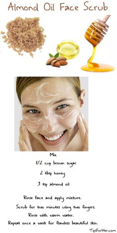 Almond Oil Face Scrub: Almond oil is rich in natural vitamins and great for maintaining a healthy and beautiful face. Almond oil is not only great for flawless looking skin, but also helps to reduce inflammation and certain skin rashes.