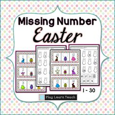 Missing Number Cards 1-30  Great for math centers, math intervention, counting practice. PlayLearnTeach  $