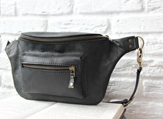 Leather hip bag, fanny pack, waist purse made of leather, handmade, handcrafted, black color by InCarne on Etsy https://www.etsy.com/nz/listing/293520129/leather-hip-bag-fanny-pack-waist-purse