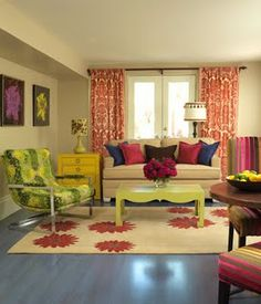 Colorful family room -- absolutely my favorite room ever and why I love Vicki Dreste designs!