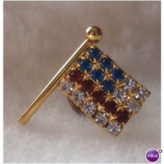 Rhinestone American Flag on Flag Pole Lapel Pin / Tie Tack Listing in the Other,Costume Jewelry,Jewelry & Watches Category on eBid United States   139306108
