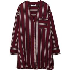 MANGO Oversize striped blouse (2.255 RUB) ❤ liked on Polyvore featuring tops, blouses, maroon, v-neck tops, striped long sleeve top, stripe top, purple long sleeve blouse and maroon blouse
