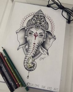 Image may contain: drawing Ganesha Tattoos, Ganesha Tattoo Mandala, Ganesha Drawing, Buddha Tattoos, Ganesha Painting, Ganesha Art, Ganesha Tattoo Thigh, Hindu Tattoos, Tattoo Sketches