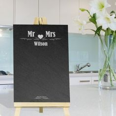 Our Personalised Slate Easel Chalkboard- The Family can be personalised with any message - Fast UK Delivery. Engraved Wedding Gifts, Wedding Gifts For Bride And Groom, Personalized Wedding Gifts, Personalised Gift Shop, Christmas Time, Christmas Gifts, Anniversary Present, Valentines Day Treats, Start Writing