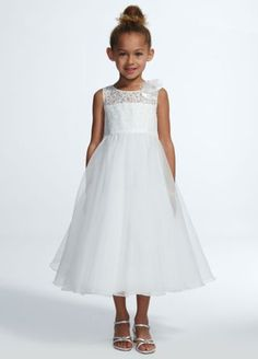 Your flower girl will look and feel like a princess in this adorable ball gown! Tank bodice features illusion lace neckline with floral detail. Full tea length organza skirt is fun for twirling. Fully lined. Dry clean only. Modest Dresses, Girls Dresses, Flower Girl Dresses, Bridesmaid Dresses, Wedding Dresses, Flower Girls, Girls First Communion Dresses, Holy Communion Dresses, Lace Sleeves