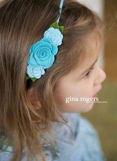 Blue Felt Flower Headband  Baby Flower Headbands For by bloomz, $7.50