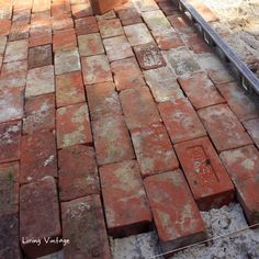 a running bond pattern using old reclaimed brick