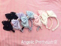 Dolly Chiffon Ribbon Headbow - Navy Melanie Martinez Style, Angelic Pretty, Chiffon, Ribbon, Band, Fashion, Silk Fabric, Tape, Moda