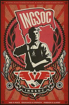 Inspire by 1984 book, by George Orwell. Soviet like poster. George Orwell, Communist Propaganda, Propaganda Art, Nineteen Eighty Four, Party Flags, The Embrace, Arte Pop, Fan Art, Dieselpunk