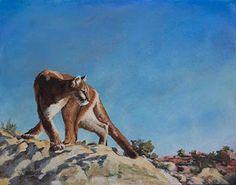"NJ Busse Fine Art: Original Puma Wildlife Painting ""HIGH DESERT PUMA"" by Colorado Western Landscape Painter Nancee Jean Busse"