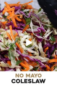 Vegan No Sugar & No Mayo Coleslaw Recipe (VIDEO!) – Foolproof Living This Healthy No Mayo Coleslaw recipe is made with red and green cabbage, carrots, red onion, and jalapeno and drizzled with sugar-free vinegar dressing. Perfect for any potluck or party. Healthy Coleslaw Recipes, Coleslaw Recipe Easy, Best Salad Recipes, Healthy Salads, Diet Recipes, Vegetarian Recipes, Healthy Eating, Cooking Recipes, Healthy Eating Recipes
