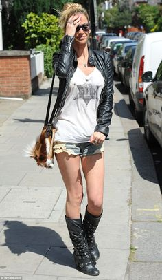 shorts and boots rocker image  | weather? Rock chick Sarah Harding opts for a biker jacket and boots ...